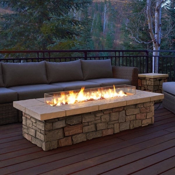 Beau Sedona Rectangle LP Gas Fire Table W/Natural Gas Conversion Kit By Real  Flame