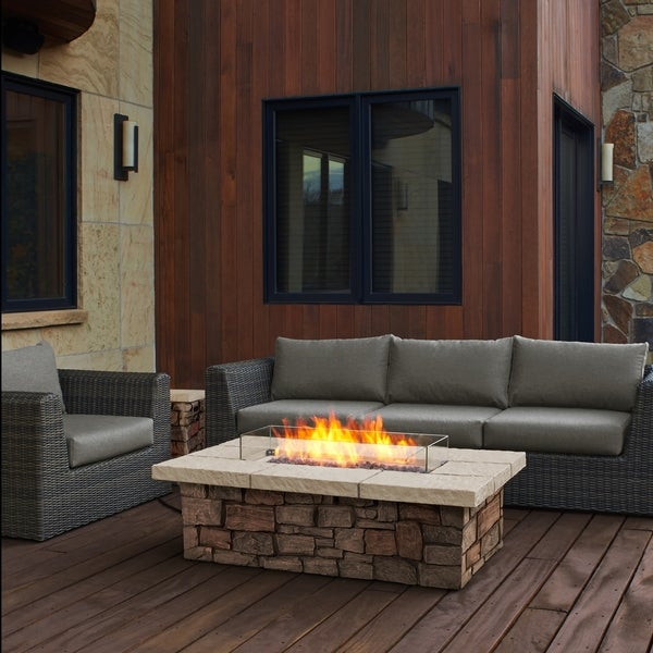 Shop Sedona Rectangle Lp Gas Fire Table W Natural Gas Conversion Kit By Real Flame