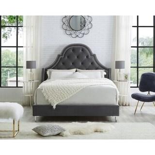 Katelynn Velvet or Linen Button Tufted Platform Bed