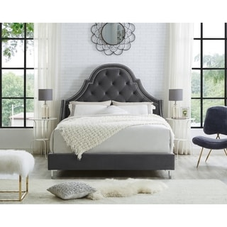 Inspired Home Katelynn Velvet  Button Tufted with Nailhead Trim  Platform Bed Queen Size