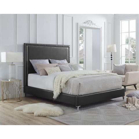 Hayworth PU Leather or Velvet Nail-head Trim Platform Bed