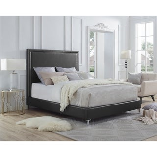 Inspired Home Hayworth PU leather  Nailhead Trim  Platform Bed Queen Size