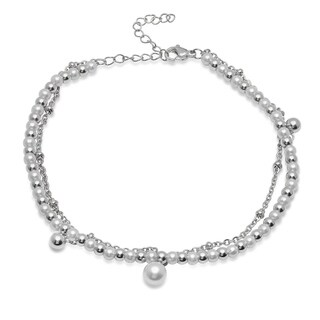Piatella Ladies Simulated Pearl and Stainless Steel Beaded Anklet in 2 Colors