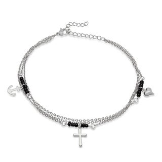 Piatella Ladies Black Beaded and Stainless Steel Anklet with Heart, Anchor, and Cross Charms in 2 Colors