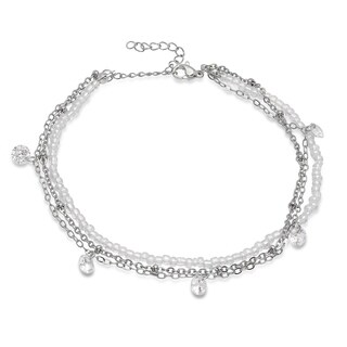 Piatella Ladies Clear Beaded and Stainless Steel Chain Anklet with Cubic Zirconia Charms in 2 Colors