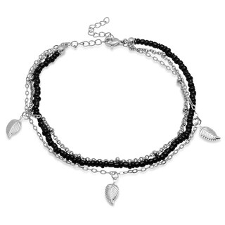 Piatella Ladies Black Beaded and Stainless Steel Chain Anklet with Leaf Charms in 2 Colors