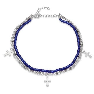 Piatella Ladies Blue Beaded and Stainless Steel Chain Anklet with Cross Charms in 2 Colors