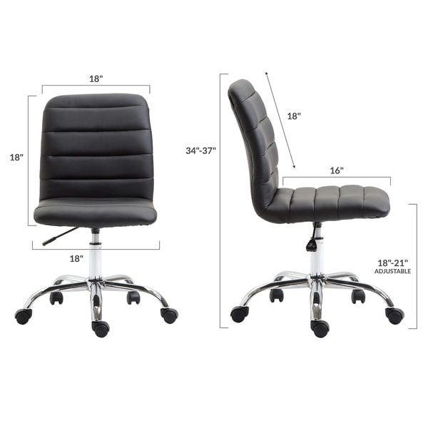 EdgeMod Polox Height-adjustable Faux Leather Swivel Task Chair