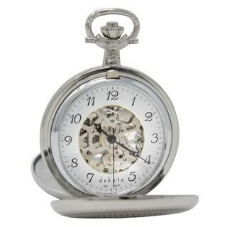 Dakota Men's Silver Mechanical Pocket Watch with Shield Design Dual Opening Covers