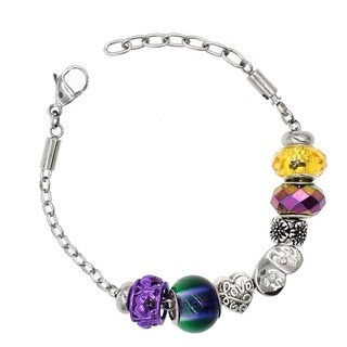 "BeSheek Jewelry ""Mardi Gras"" Silver European-Style Interchangeable Charm Bead Fashion Bracelet"
