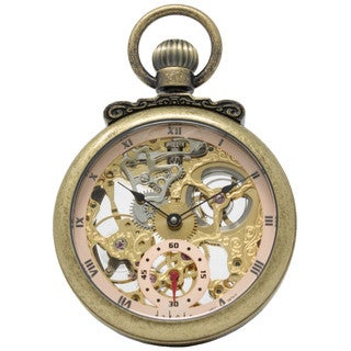 Dakota Classic Antique Gold, Open Face Mechanical Pocket Watch with Stand