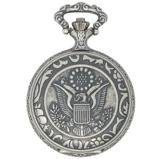 Dakota Men's Antique Silver Eagle Pocket Watch
