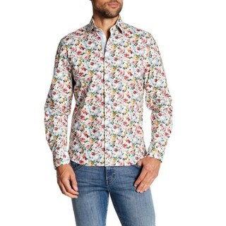 Floral Printed Long-Sleeve Slim-Fit Dress Shirt