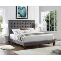 Ryan Velvet or Linen Button Tufted Platform Bed