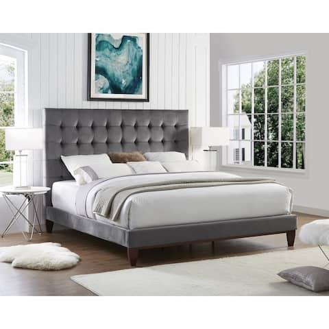 Ryan Velvet or Linen Button Tufted Platform Bed