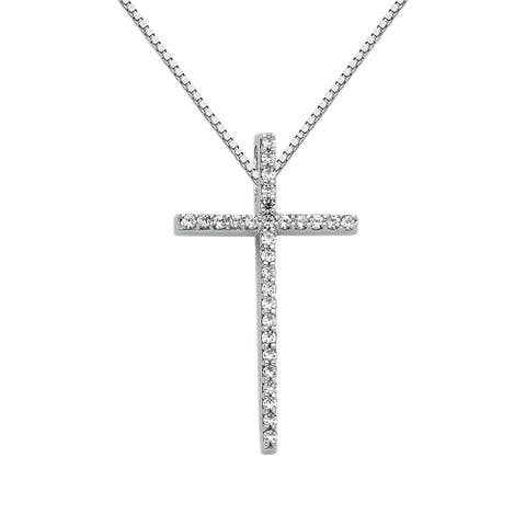 14k White Gold Cubic Zirconia Decorative Cross Pendant and Box Chain