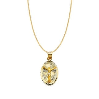 14k Two-tone Gold Diamond-cut Crucifix Oval Pendant and Curb Chain
