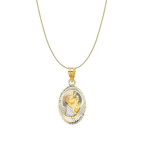 14k Tri-tone Gold Diamond-cut Boy's Communion Oval Pendant and Wheat Chain