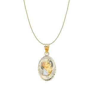 14k Tri-tone Gold Diamond-cut Boy's Communion Oval Pendant and Wheat Chain (4 options available)