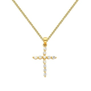 14k Yellow Gold Cubic Zirconia Decorative Cross Pendant and Flat Wheat Chain