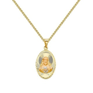 14k Tri-tone Gold Diamond-cut Sacred Heart Jesus Pendant and Flat Wheat Chain (5 options available)