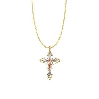 14k Tri-tone Gold Decorative Crucifix Cross Pendant and Rolo Chain