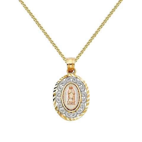 14k Tri-tone Gold Our Lady of Guadalupe Decorative Pendant and Flat Wheat Chain