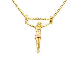 14k Two-tone Gold Jesus Body Crucifix Pendant and Box Chain