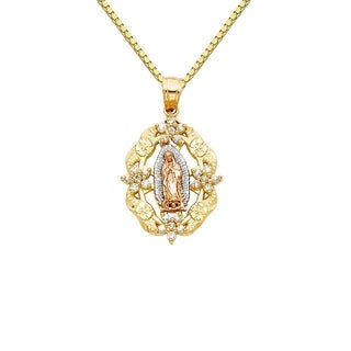 14k Tri-tone Gold Cubic Zirconia Guadalupe Flower Pendant and Box Chain