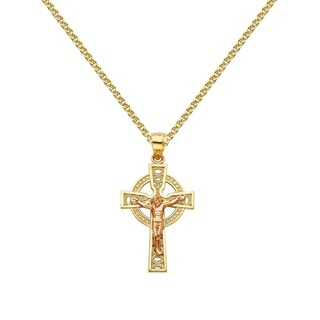 14k Two-tone Gold Celtic Crucifix Cross Pendant and Flat Wheat Chain