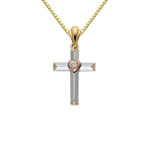 14k Tri-tone Gold Cubic Zirconia Decorative Heart Cross Pendant and Box Chain