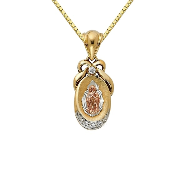 14k tri tone gold cubic zirconia decorative guadalupe pendant and 14k tri tone gold cubic zirconia decorative guadalupe pendant and box chain mozeypictures Choice Image