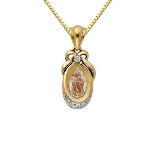14k Tri-tone Gold Cubic Zirconia Decorative Guadalupe Pendant and Box Chain