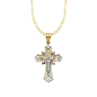 14k Tri-tone Gold Cubic Zirconia Decorative Crucifix Cross Pendant and Figaro Chain