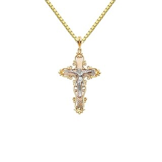14k Tri-tone Gold Decorative Crucifix Cross Pendant and Box Chain