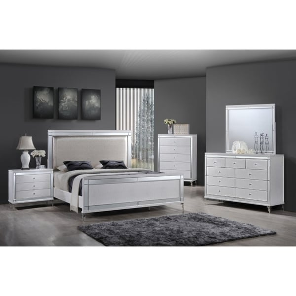 Shop best quality furniture metallic white 5 piece glam bedroom set free shipping today for Best quality bedroom furniture