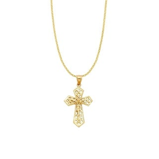 14k Yellow Gold Decorative Crucifix Cross Pendant and Rolo Chain