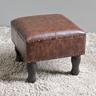International Caravan Faux Leather 16-inch Square Stool (As Is Item)