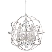 Crystorama Solaris Collection 6-light Olde Silver/Swarovski Strass Chandelier - olde silver