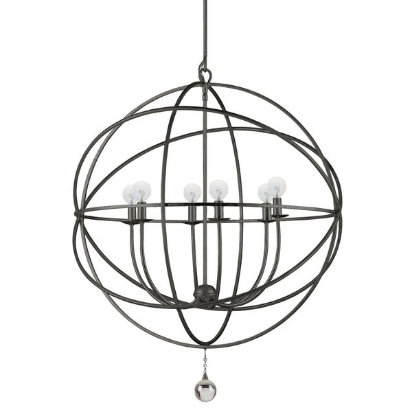 English Bronze/Crystal 6-light Chandelier