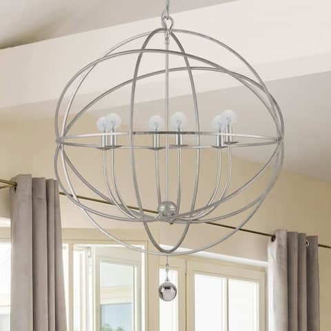 The Gray Barn Crooked Sky 6-light English Bronze and Crystal Globe Chandelier