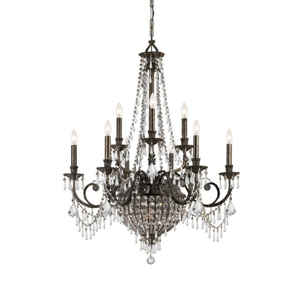Crystorama Vanderbilt Collection 12-light English Bronze/Crystal Chandelier