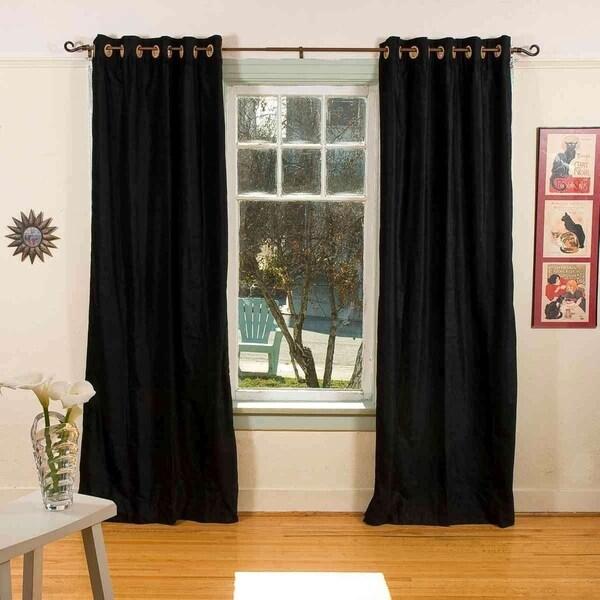 Black Ring / Grommet Top Velvet Curtain / Drape / Panel - Piece