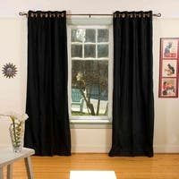 Black Ring / Grommet Top  Velvet Curtain / Drape / Panel  - Piece