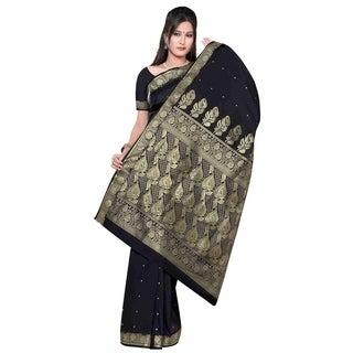 Black - Benares Art Silk Sari / Saree/Bellydance Fabric (India)