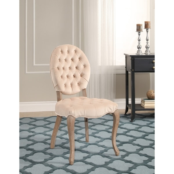 Abbyson French Vintage Oval Ivory Tufted Velvet Dining Chair