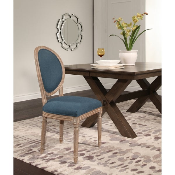Shop Abbyson French Vintage Round Back Blue Dining Chair