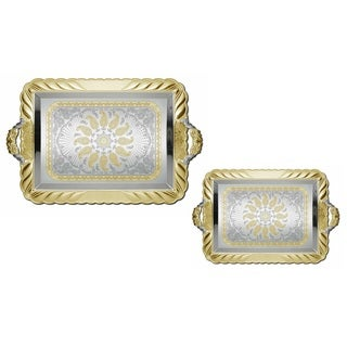 2pc Large Silver Plated Decorative Serving Tea Tray Set
