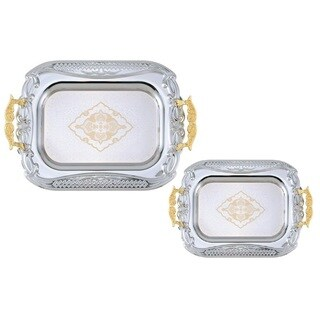 2PC Chrome Plated Decorateive Serving Tea Tray Set