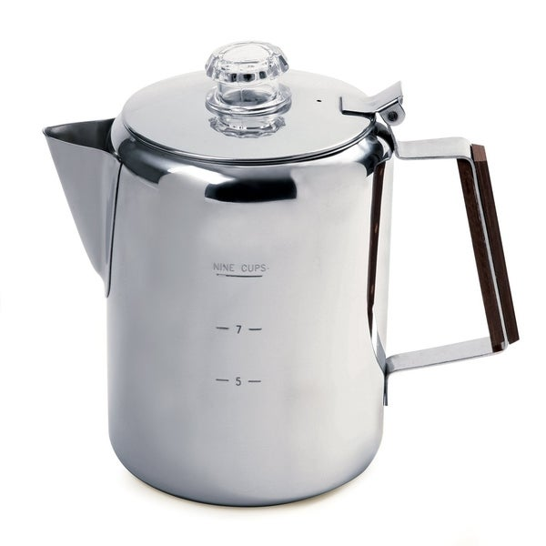 9 Cup Stainless Steel Coffee Percolater Home Camping. Opens flyout.